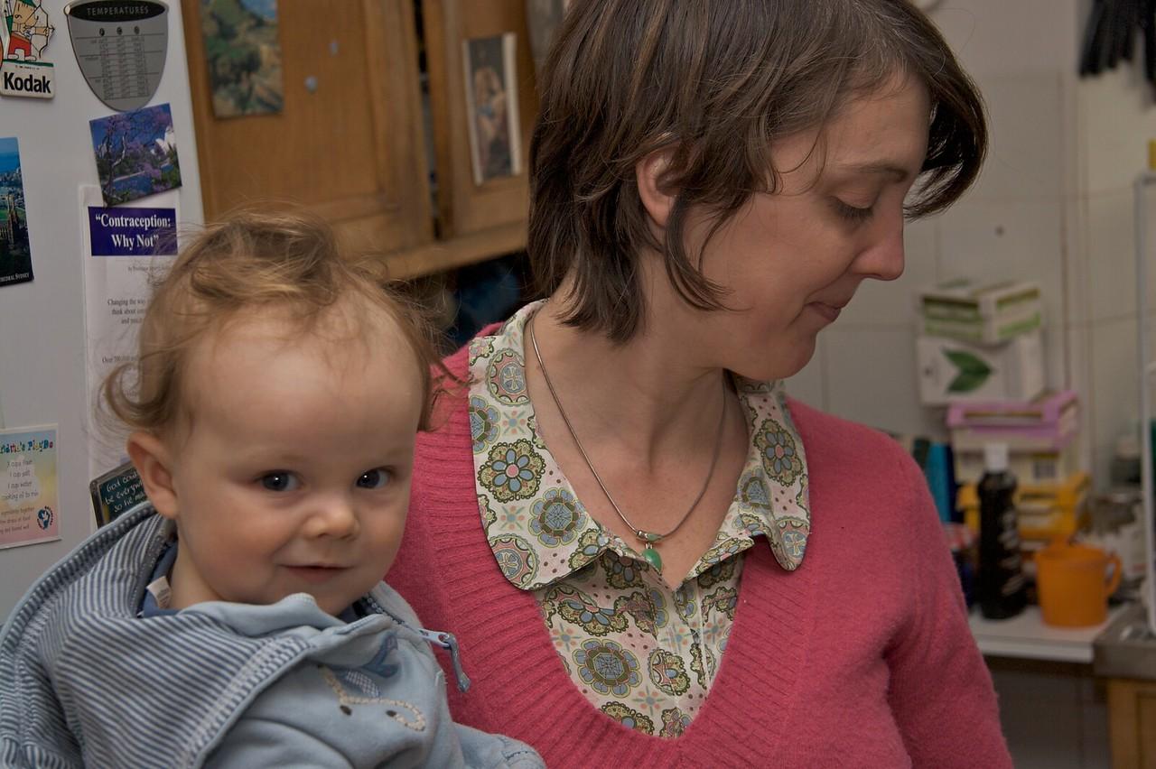 Lucy and Edmund • Edmund looks slightly mischievous in the kitchen.