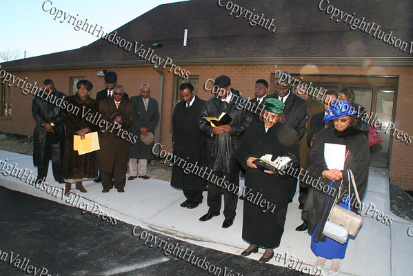The Mount Carmel Church family at the cornerstone dedication