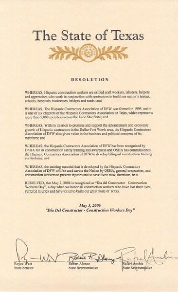 The State Proclamation: Senator West; State Representatives Anchia and Alonzo