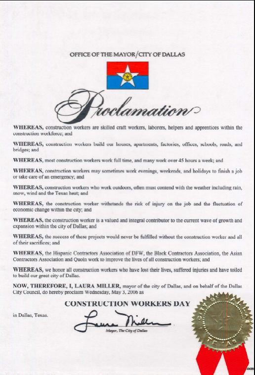 The City of Dallas Proclamation by Dallas Mayor Laura Miller
