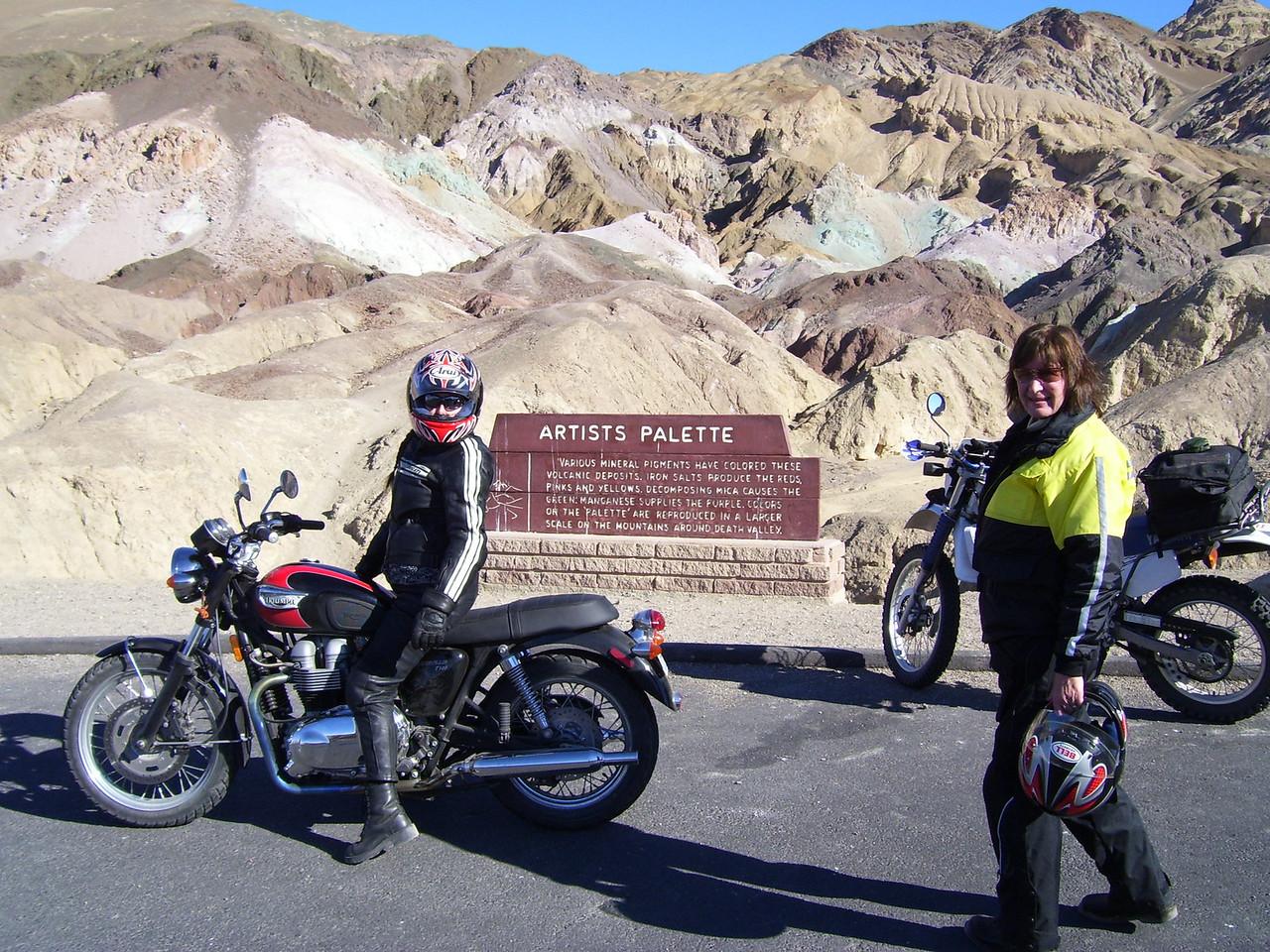 Lorrie & Sylvia on Artists Drive Loop. Lorrie rode her big Triumph 895cc.
