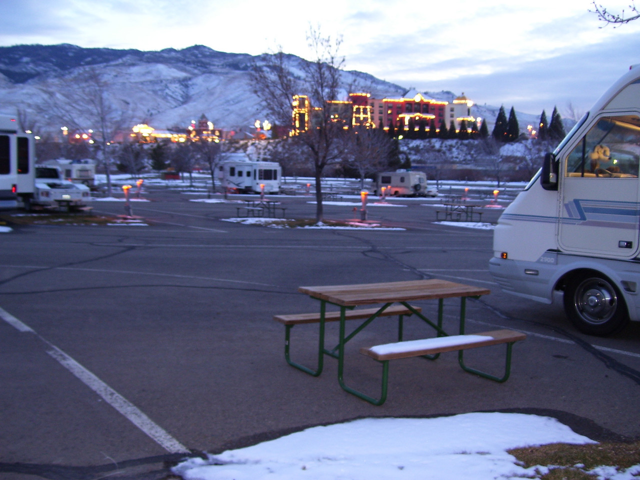 """Camping at """"Boomtown"""" Casino RV Park in Reno, Nevada. 22° degress outside & snow in the forecast."""