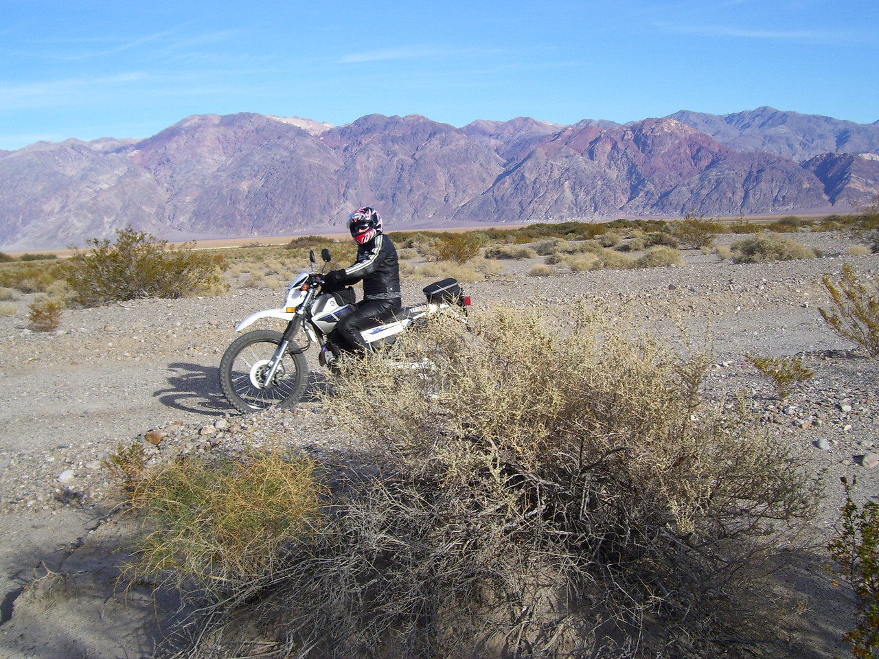 Lorrie on Sylvia's XT 225. I was riding the big Triumph for her on the 50 miles of dirt road.