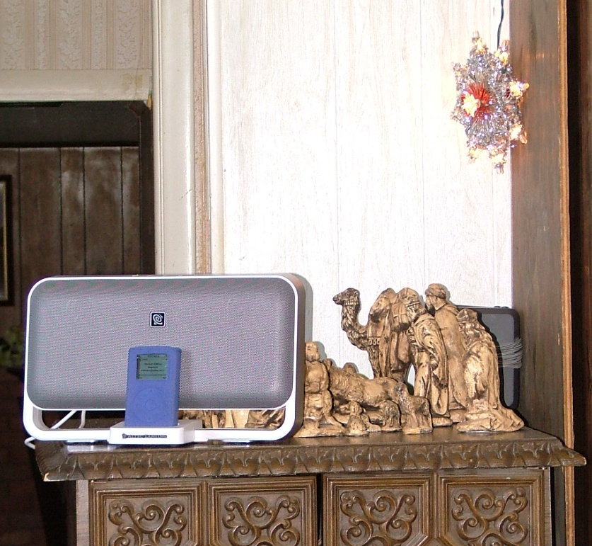 Got an iPod speaker system for Christmas.  Set it up by the Nativity.
