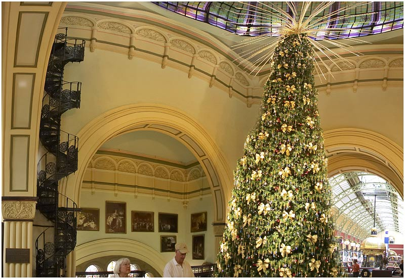 "Queen Victoria Building, Thursday December 14th 2006.  With a massive Christmas tree that reaches through three levels this Victorian era shopping mall is ready for Christmas shoppers. This photo is part of a large panorama and is best viewed <a href=""http://sydneywebcam.smugmug.com/photos/popup.mg?ImageID=116749840&Size=Original&popUp=1"" target=""_blank""><strong><em>here</em></strong></a>. More from the QVB tomorrow.    EXIF DATA  Canon 1D Mk II. EF 17-35 f/2.8L@17mm 1/40 f/3.5 ISO 1250."