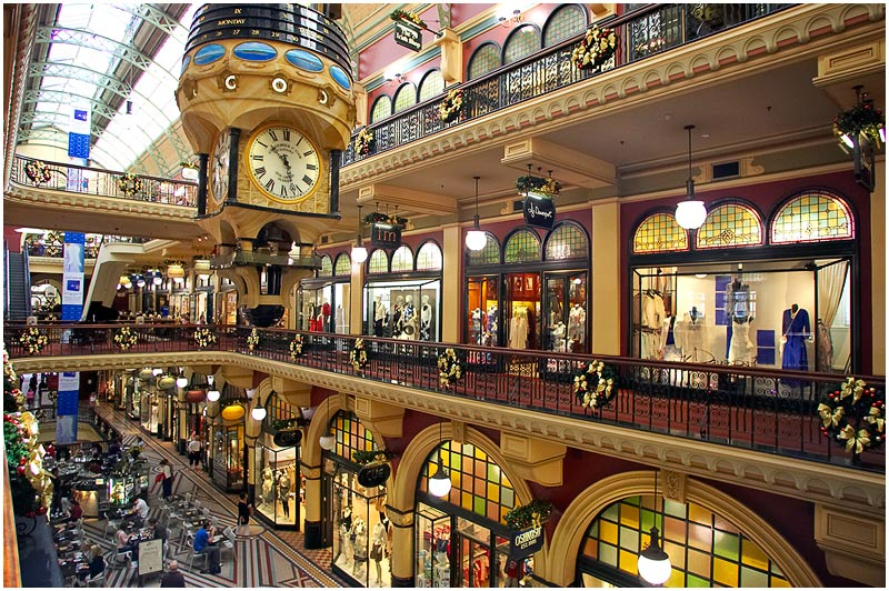 Queen Victoria Building, Saturday December 16th 2006. <br /> <br /> Third in a series of the interior of the QVB. <br />  <br /> <br /> EXIF DATA <br /> Canon 1D Mk II. EF 17-35 f/2.8L@17mm 1/40 f/3.5 ISO 1250.