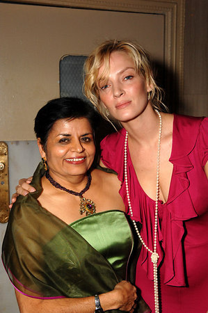 Vishakha N. Desai, President of the Asia Society with Uma Thurman at the Waldorf Astoria for the Asia Society Annual Dinner