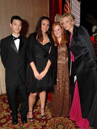 "High School student winners of the Goldman Sachs and Asia Society<br /> ""Excellence in Education Awards"" Cory Gu, Grace Needlman, and Elyse DeLaittre (grand prize scholarship winner)with Uma Thurman at the Asia Society Annual Dinner at the Waldorf Astoria"