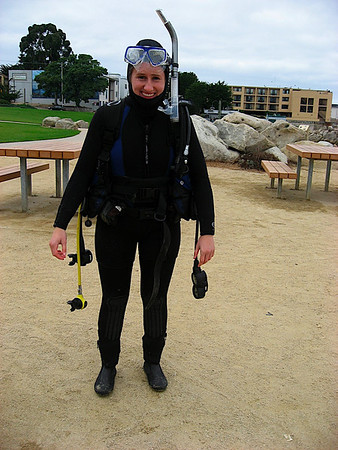 Katy with all the dive gear on