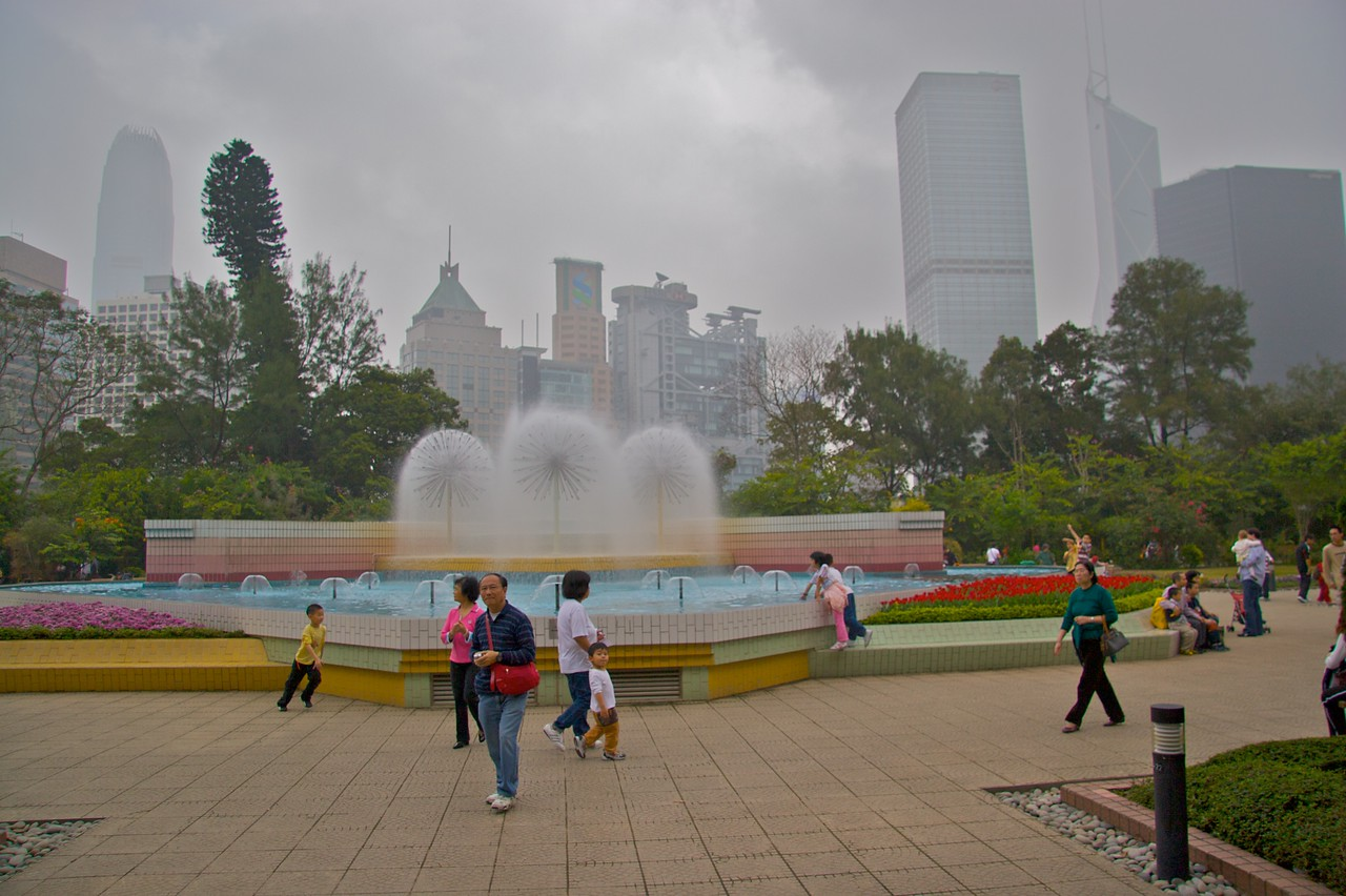 HKBZG Fountain • The fountain which acts as a focal point of the Hong Kong Botanical and Zoological Garden.