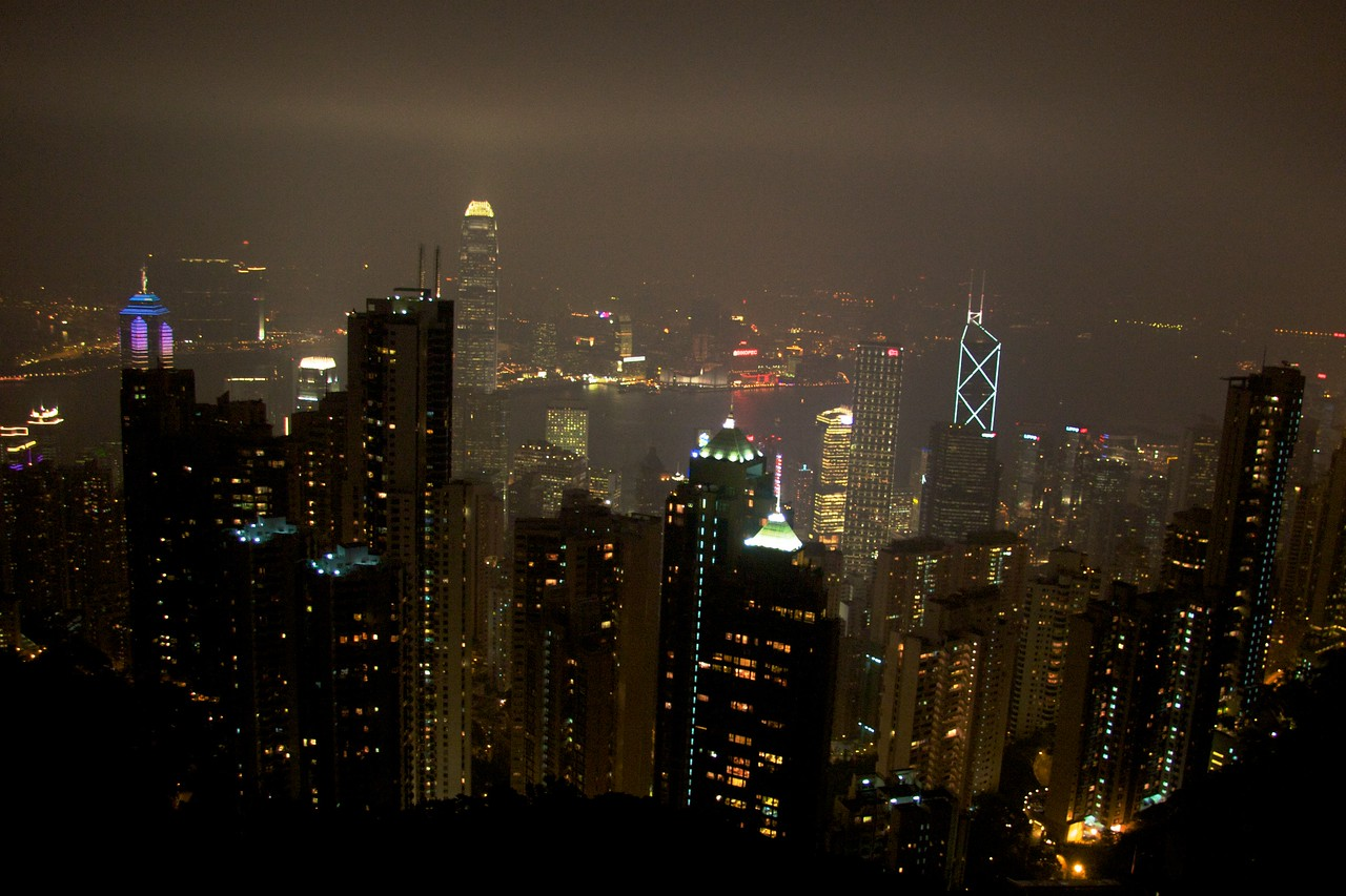 Night view from The Peak • I went back up The Peak later on the same day to see the view over Hong Kong at night. The mist was still there, which served to reflect the lights from the city.