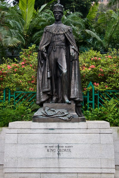 HM King George VI • A former king of Hong Kong (and all dominions of the British Crown), His Most Gracious Majesty George VI.   The Chinese haven't (yet) seen fit to remove statues and monuments such as this which are dotted around Hong Kong.