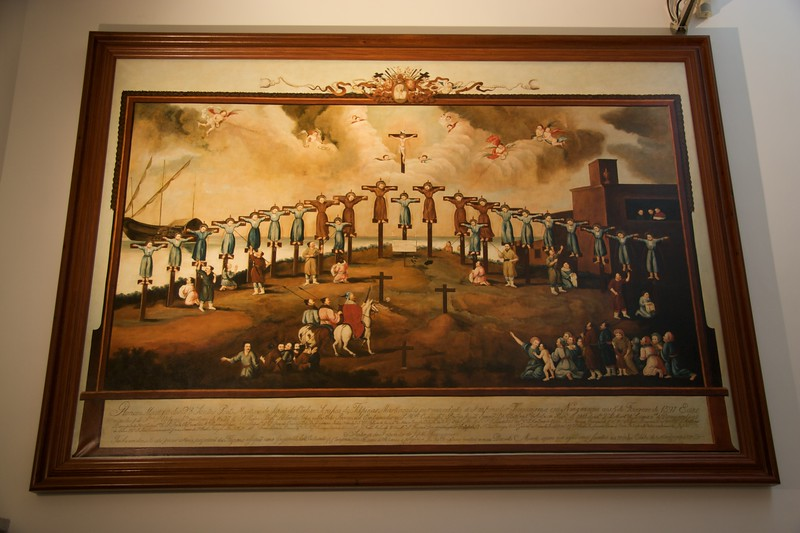 "The 26 Martyrs of Japan • A painting in the crypt of the ruined São Paulo of the 26 Martyrs of Japan, dating from 1640.  If you don't remember who the 26 Martyrs (St Paul Miki & Companions), you can <a href=""http://richardflynn.net/articles/view/nagasaki-and-hiroshima/#paul-miki"" title=""Nagasaki and Hiroshima (Richard Flynn » Travel)"">be reminded</a>. The eagle-eyed will notice that there are only twenty-three being crucified: the artist, presumably a Franciscan, left out the three Jesuits."
