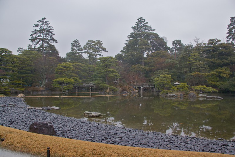 Imperial stroll-garden • The first of the two stroll-gardens we were shown at the Imperial Palace in Kyoto. The garden had an impressive lake in its centre, and was lined with trees.
