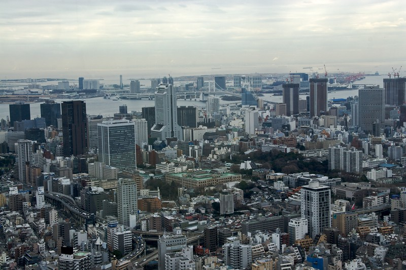 View across Tokyo Bay • Tokyo Bay, as seen from the observatory at the top of the Mori Building in Roppongi Hills.