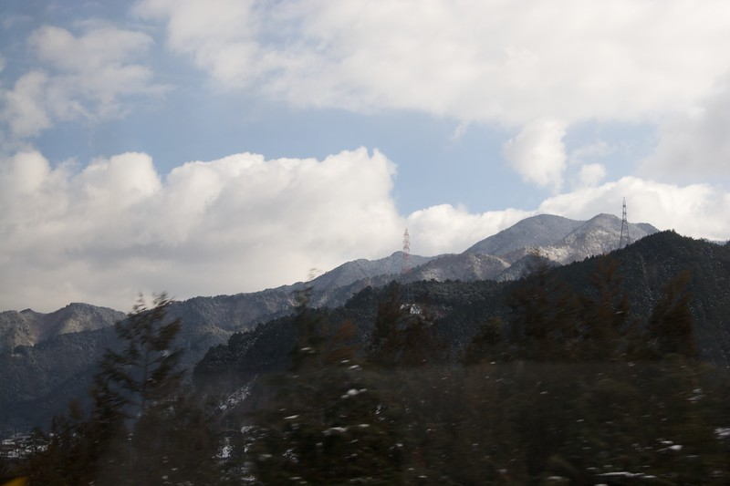 The Japanese Alps from the south • Taken from the window of the limited express train going through the mountains from Nagoya to Takayama, where I would spend the weekend.