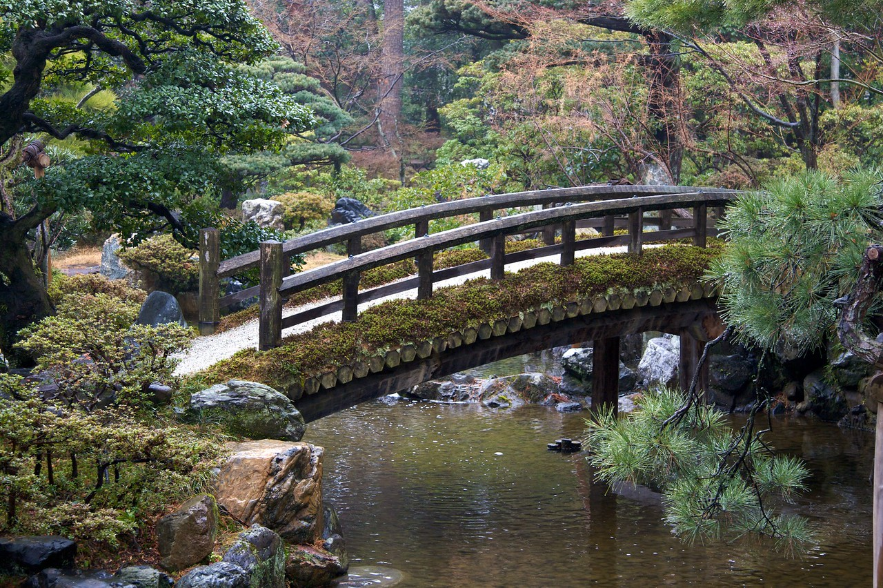 Imperial bridge • A bridge crosses the lake in the second of the two stroll-gardens we were shown at the Imperial Palace in Kyoto.