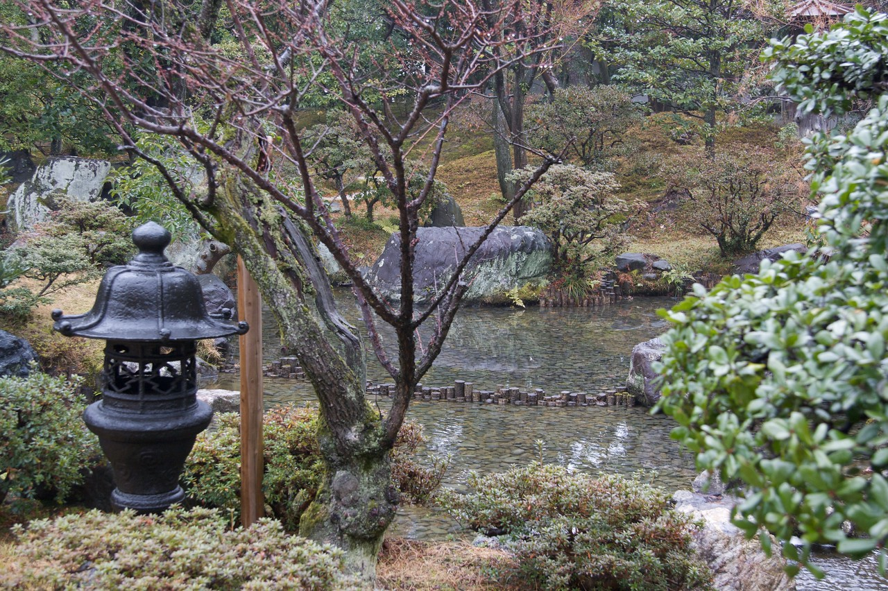 The Emperor's private garden • The second garden we were shown at the Imperial Palace in Kyoto adjoined the Emperor's private apartments.