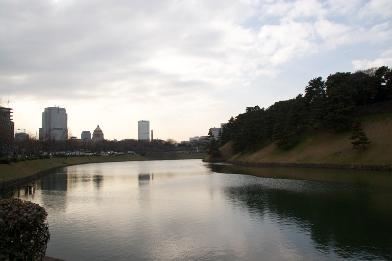Imperial Palace moat • The moat outside the grounds of the Imperial Palace in Tokyo.