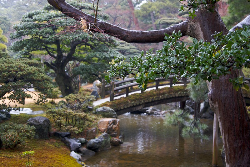 Rain in the gardens • The second of the two stroll-gardens we were shown at the Imperial Palace in Kyoto. It was raining constantly during our hour-long tour of the exterior of the palace.