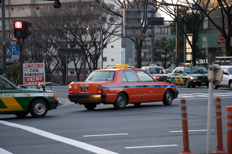 Multi-coloured taxis in Tokyo