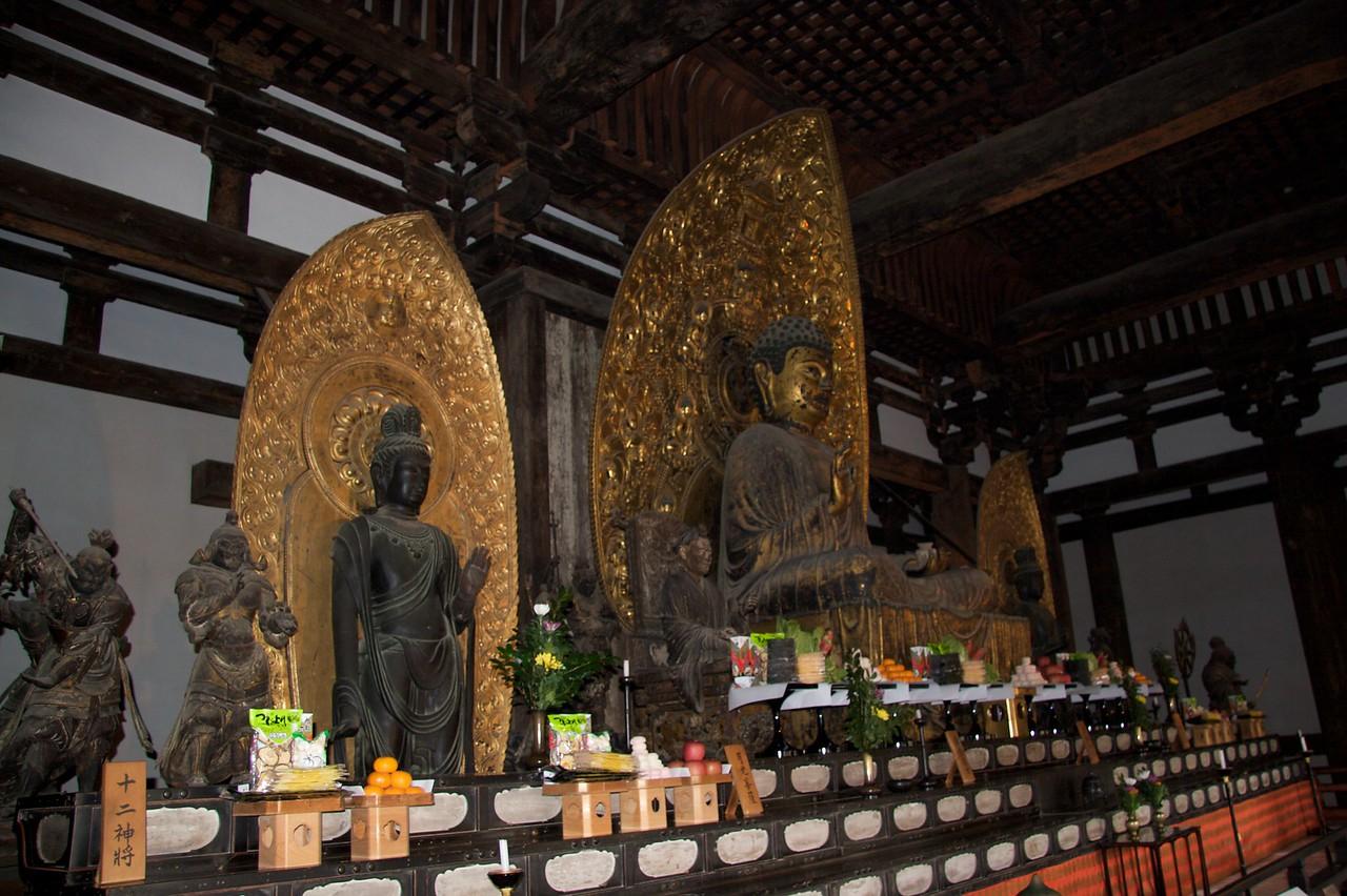 Collection of Buddhas • The collection of Buddhas in the Tokon-do golden hall at Kofuku-ji in Nara.
