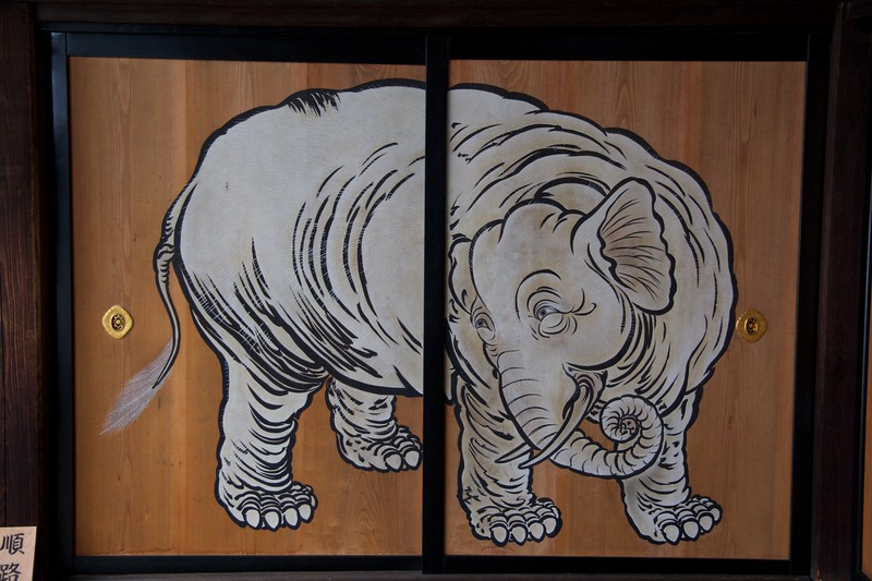 Elephant • This fine beast was painted onto the panels at the end of a corridor at Shokokuji temple.