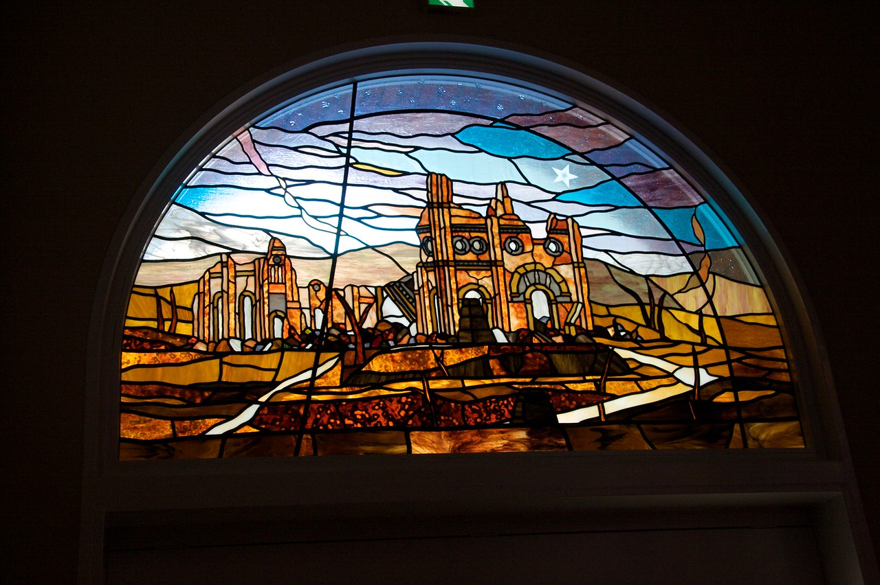 Stained-glass destruction • In the new extension of Urakami cathedral in Nagasaki, a stained-glass window displays the ruins of the old cathedral left by the blast of the atomic bomb in August 1945.