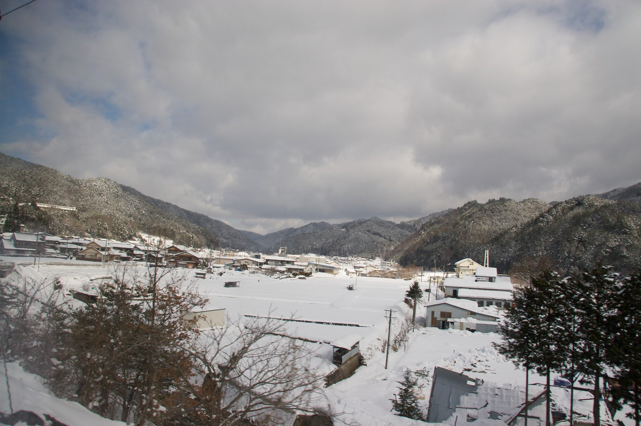 Snow in Gifu prefecture • Taken from the window of the limited express train going through the mountains from Nagoya to Takayama, where I would spend the weekend.