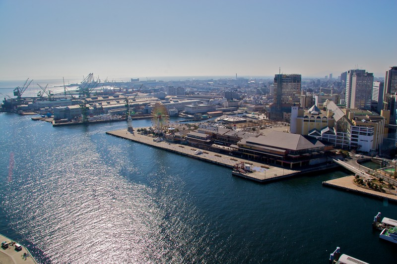 View over Kobe port • View over the port at Kobe from Kobe Port Tower.