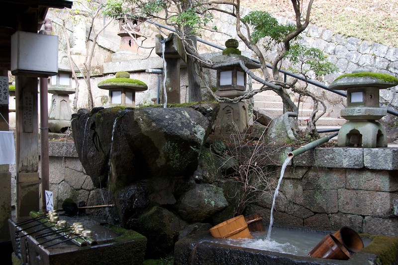 Water at Shoso-in • Water is provided at all temples and shrines for worshippers to perform their ablutions (that is to say, wash their hands).