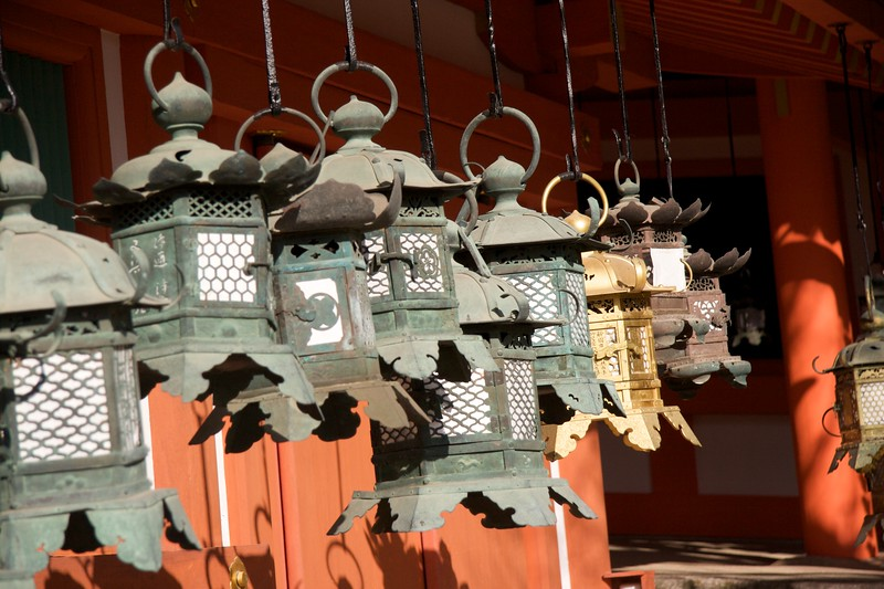 Sole gold lantern • A gold lantern breaks the green monotony hanging outside one of the buildings at Kasuga Taisha.