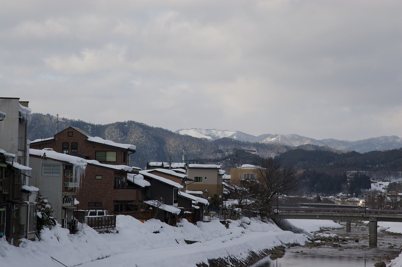 Takayama among the mountains • The Japanese city of Takayama is situated in the Japanese Alps, at an elevation of about 5,000 feet.