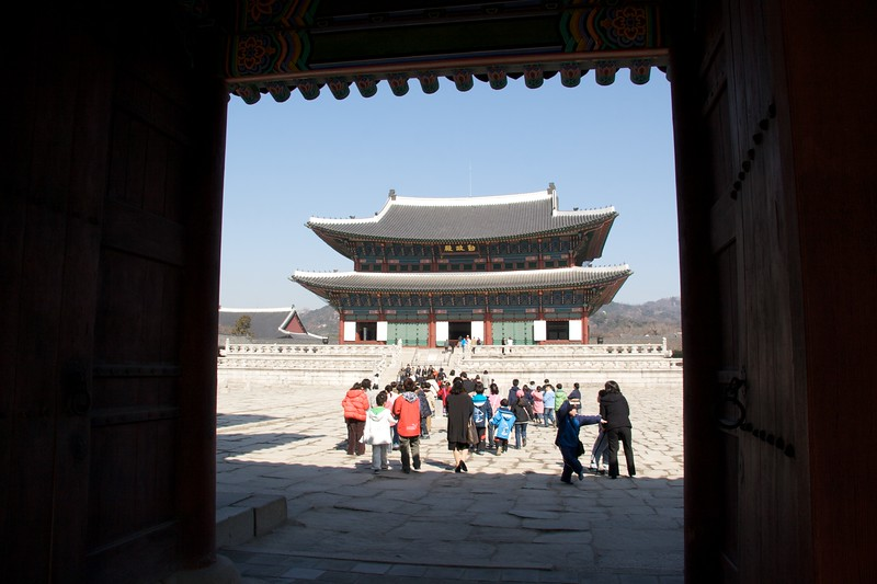 Geunjeongjeon at Gyeongbokgung • The main building at Gyeongbokgung, the imperial palace in Seoul, the Geunjeongjeon.   First built in 1395, it was burned down in 1592 during the Japanese Invasion and rebuilt in 1867.   It was used for important ceremonies of state.