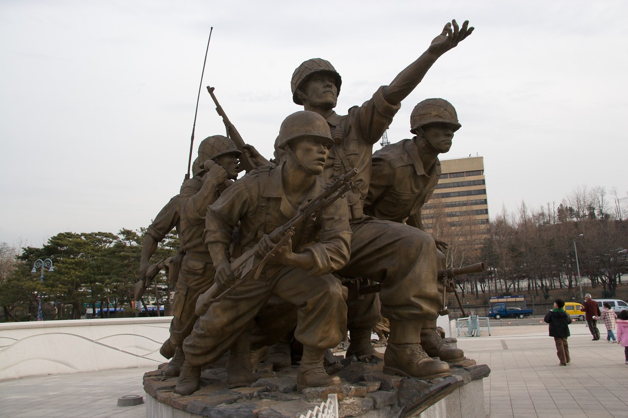 Memorial • A statue commemorating the soldiers lost in the Korean War, outside the War Memorial Museum in Seoul.