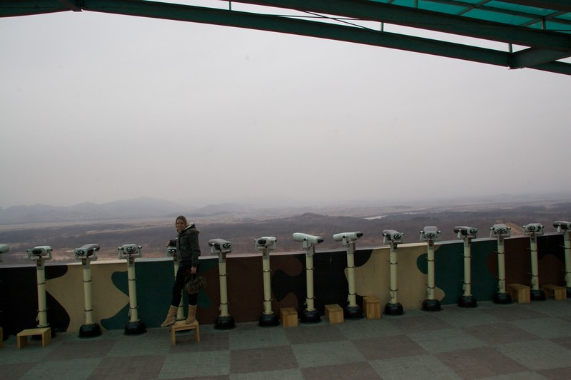 "Before North Korea • Standing at Dora Observatory, which overlooks the <abbr title=""De-Militarized Zone"">DMZ</abbr> and then over North Korea. Not that we could see much that day because of the poor weather."