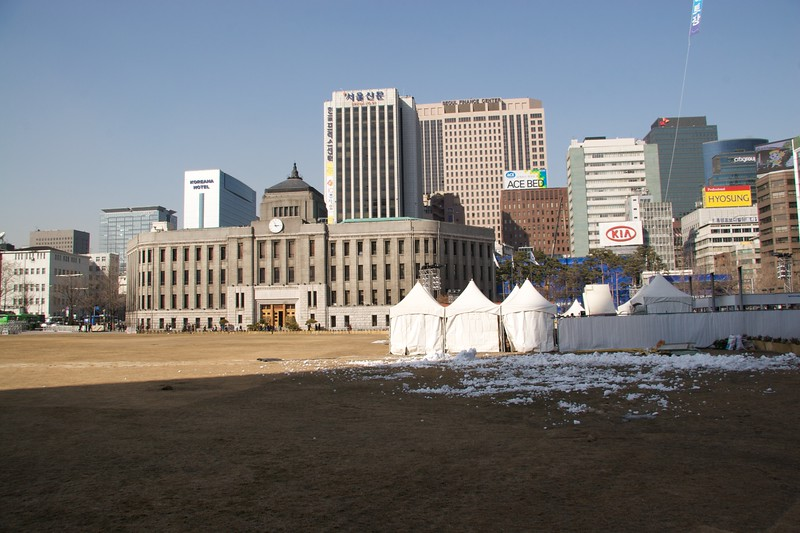 Seoul city hall • Seoul city hall—the ice and tents in the foreground are connected with the icerink which is set up for the winter months.