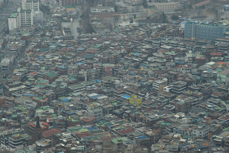 Seoul • View over some of the many low-rise buildings of Seoul from the Seoul Tower.