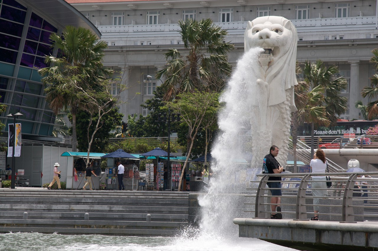 The merlion • The Merlion, as seen from Singapore River.