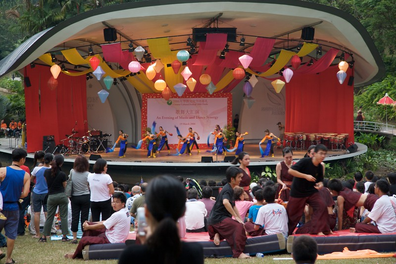 Dancers • When I was at the Botanical Gardens in Singapore, there was a dance show going on on a specially-erected stage.