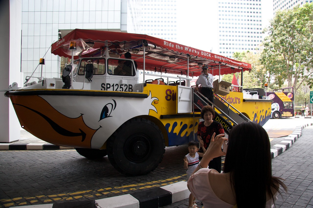Duck tour • The 'Wacky Duck' an amphibious craft which saw military service in Vietnam, and which is now used to run hour-long tours of the city from the road and river.