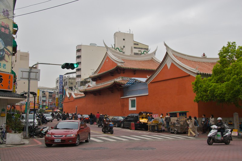 The Official God of War Temple, Tainan • The temple seen from the side.  The clouds overhead went on to release their watery contents after I left the temple.