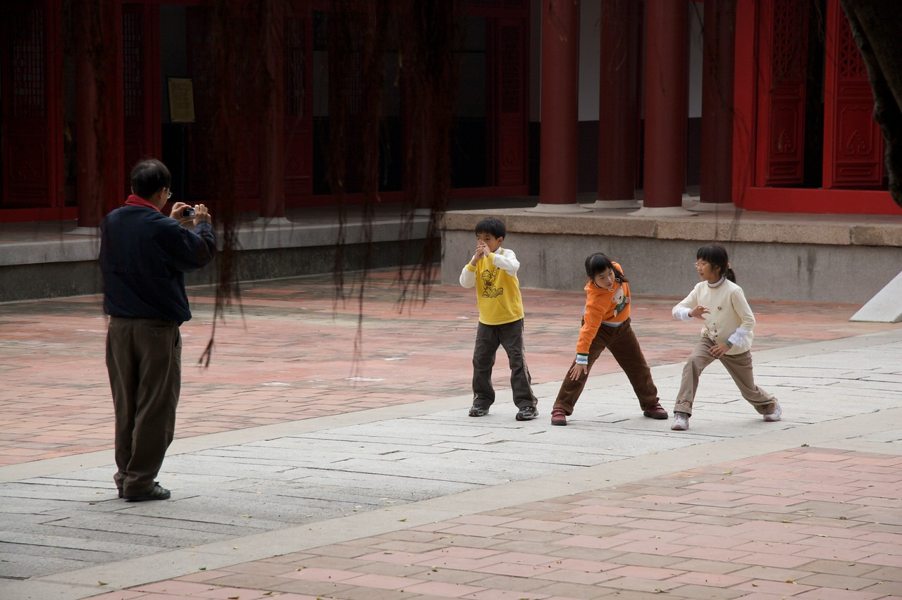 Posing for a photo • Children posing in what look like T'ai Chi stances at Koxinga's Shrine, Tainan.