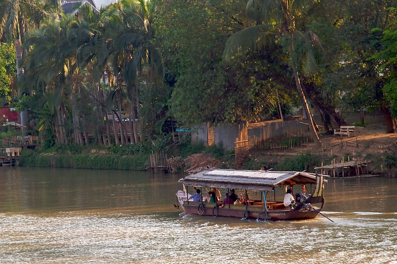 Boat • A passenger boat on the river at Chiang Mai.