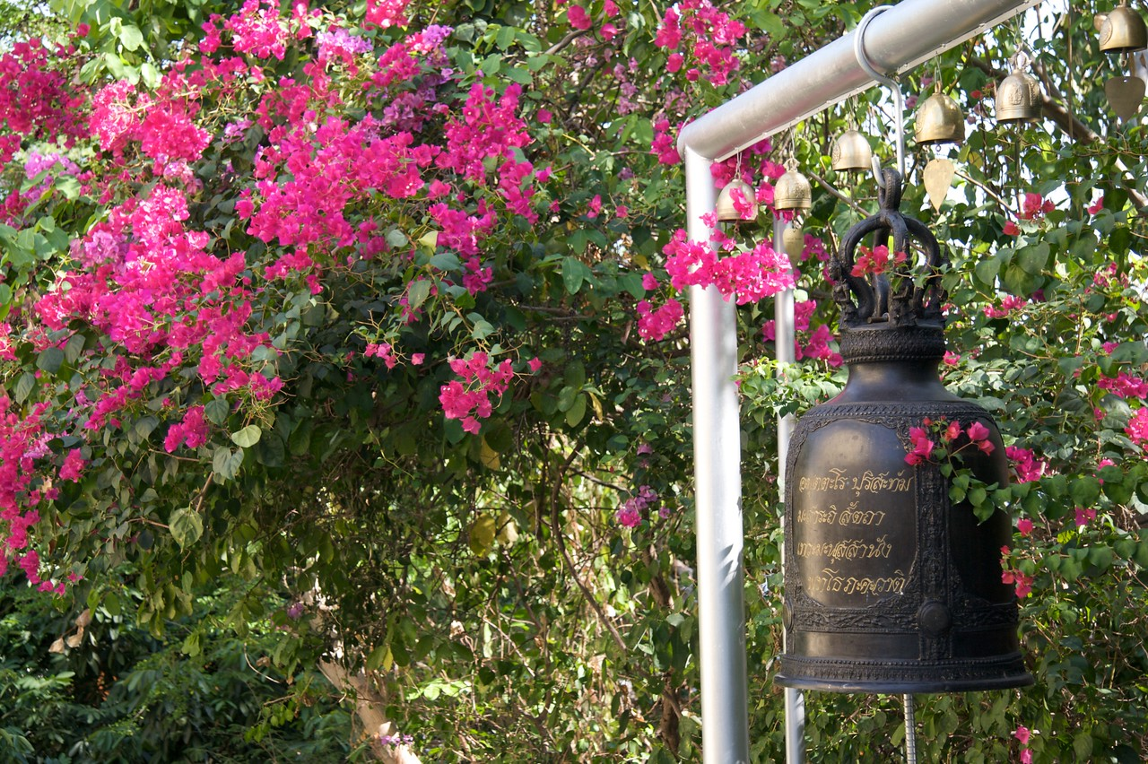 Bell • A bell surrounded by flowers on the path down from the summit of the Golden Mount in Bangkok.