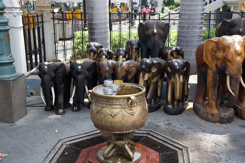 Elephant statues • Elephant statues at the Erawan Shrine in Bangkok.