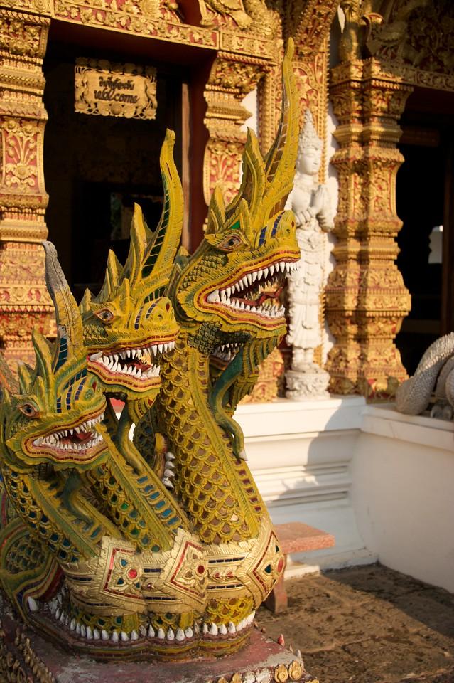 Dragons • A dragon statue at Wat Bupparam in Chiang Mai.