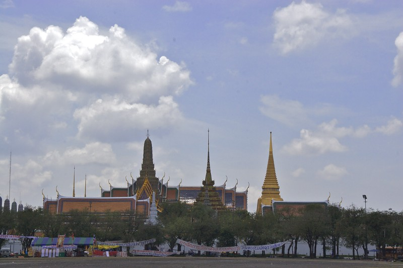 Grand Palace • The outside of the Grand Palace in Bangkok. When I went the palace was apparently closed for the day, but this could have been a fib by one of the many hawkers who swarm around the tourist attractions in Bangkok.