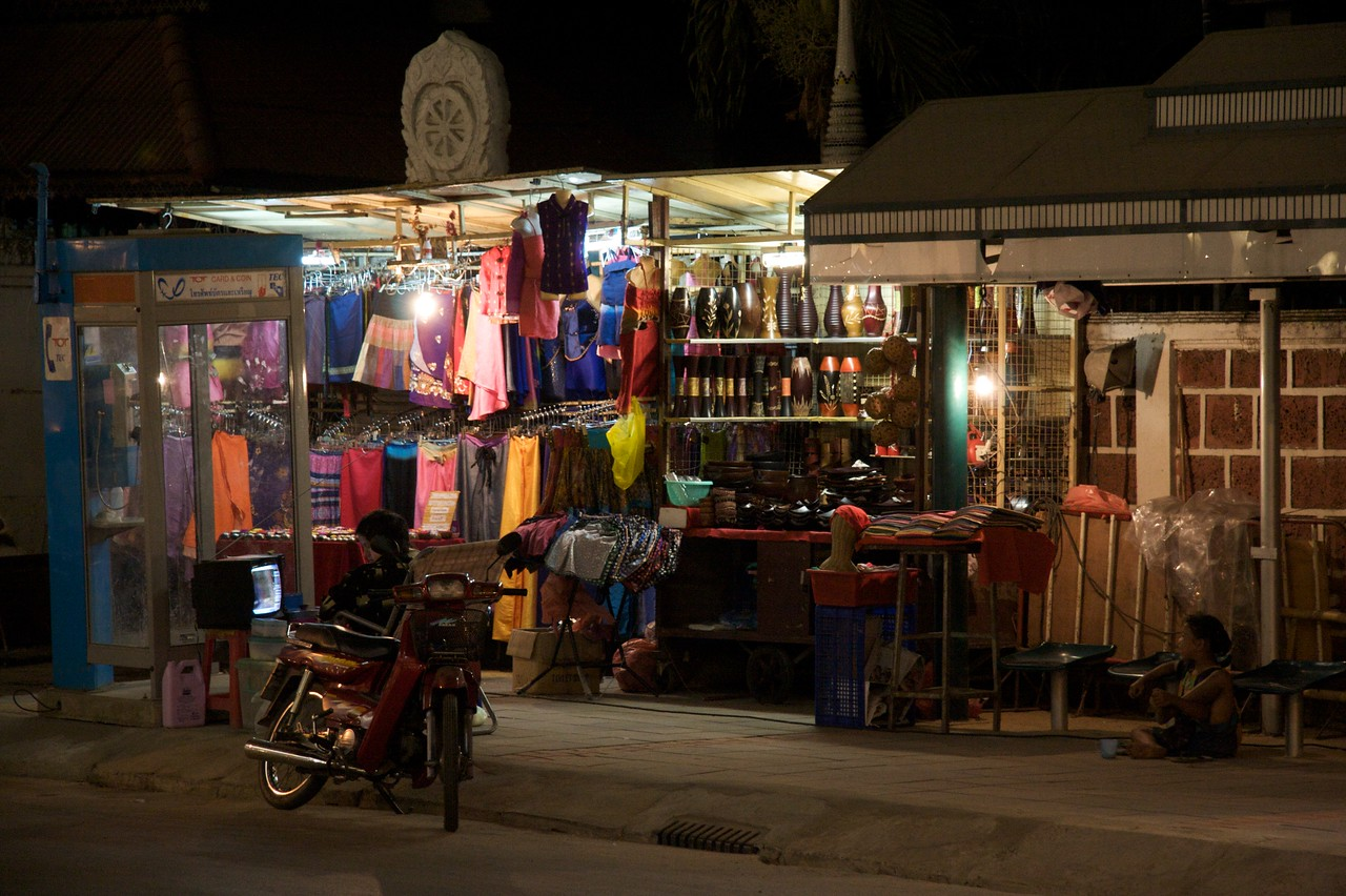 Night market • A stall selling clothes at the Chiang Mai night market.