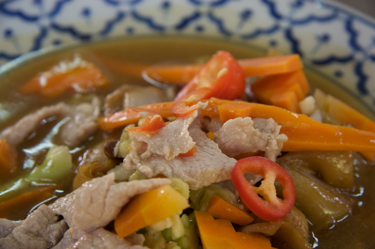 Chicken with vegetables • My own efforts at Thai cooking. I didn't reduce the liquid quite enough here.